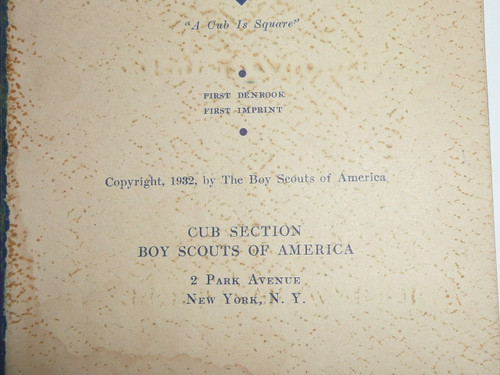 1932 The Den Chief's Denbook, First Printing