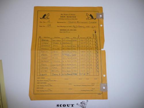 1945 Den Record Sheet, 3-45 Printing