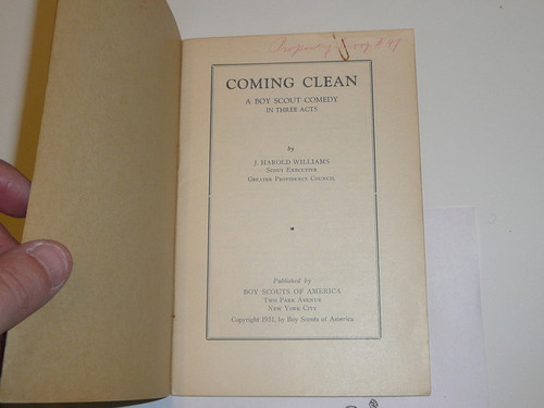 Coming Clean, A Boy Scout Comedy, Boy Scout Service Library, 11-37 Printing