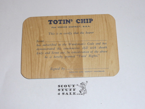 Crescent Bay Area Council, Venice District, Totin' Chip Card