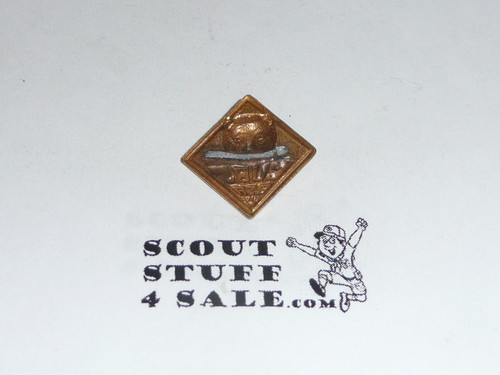 Bear Cub Scout Rank Pin, Stamped Gold with clasp broken off