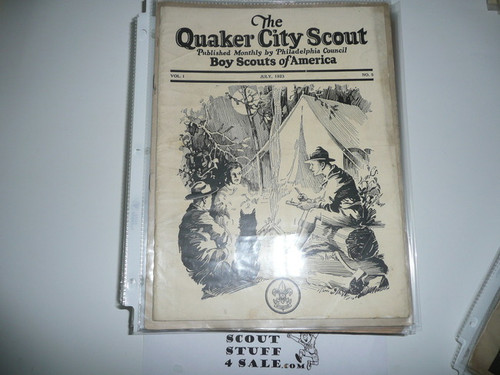 1921-1932 37 Issues of the Quaker City Scout, Monthly Newsletter of Philadelphia Council, Tons of Early Scout, Camp, and Early Order of the Arrow Historical Information, A Few Duplicates Included, Most in Mint Condition