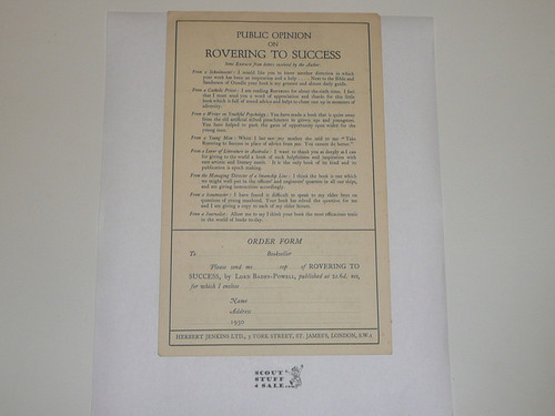 1930 Flier Advertisement and Order Form For Rovering To Success by Baden Powell