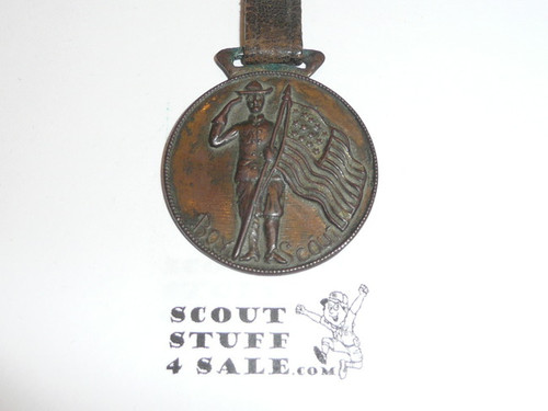 Boy Scout Watch Fob, Saluting Scout With Flag