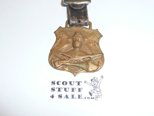 Gold Boy Scout Watch Fob, Crossed Flags & Rifles