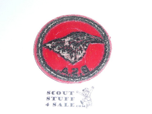 Raven Patrol Medallion, Red Twill with plastic back, 1955-1971