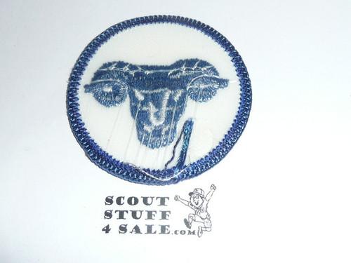 Ram Patrol Medallion, White Twill with plastic back, 1972-1989
