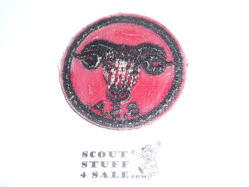 Ram Patrol Medallion, Red Twill with plastic back, 1955-1971