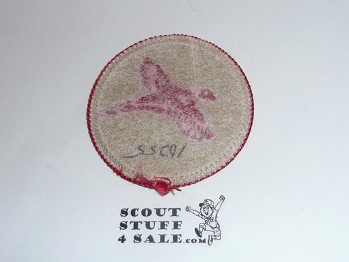 Pheasant Patrol Medallion, Tan Twill with paper back, 1972-1989
