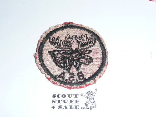 Moose Patrol Medallion, Felt w/BSA & Solid Black Ring back, 1933-1939, lt. use