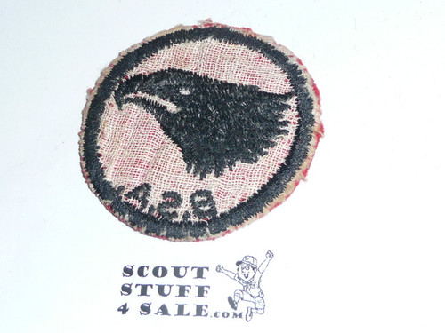 Eagle Patrol Medallion, Felt w/BSA & Solid Black Ring back, 1933-1939, Used