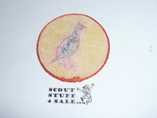 Bobwhite Patrol Medallion, Yellow Twill with paper back, 1972-1989