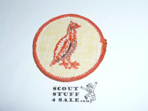 Bobwhite Patrol Medallion, Yellow Twill with gauze back, 1972-1989