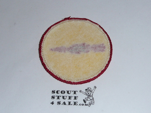 Blazing Arrow Patrol Medallion, Yellow Twill with paper back, 1972-1989