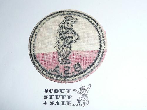 Black Bear Patrol Medallion, Red Twill with gum back, 1955-1971