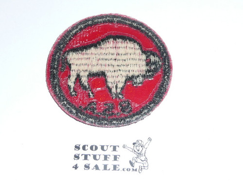 Bison Patrol Medallion, Red Twill with plastic back, 1955-1971