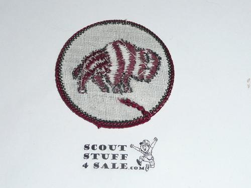 Bison Patrol Medallion, Grey Twill with gauze back, 1972-1989