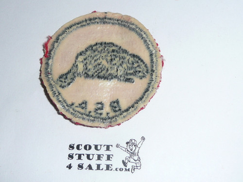 Beaver Patrol Medallion, Red Twill with gum back, 1955-1971, used