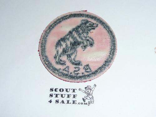 Bear Patrol Medallion, Red Twill with gum back, 1955-1971