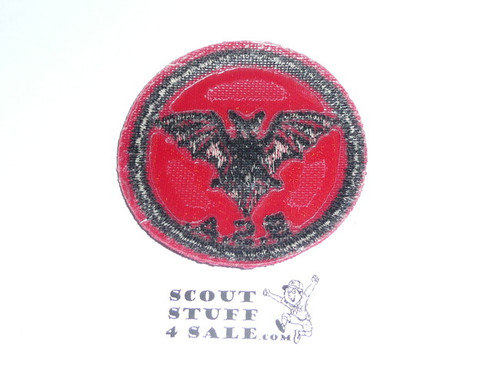 Bat Patrol Medallion, Red Twill with plastic back, 1955-1971