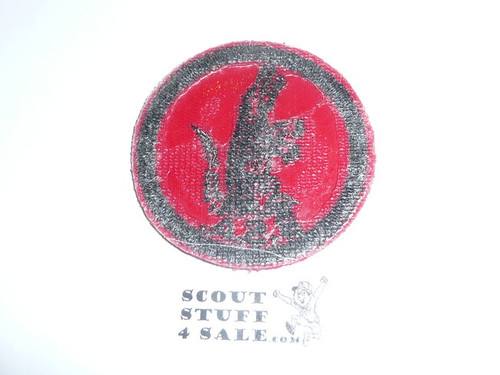 Alligator Patrol Medallion, Red Twill with plastic backing, 1955-1971