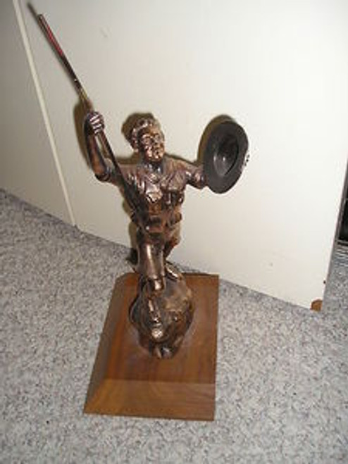 Old Brass/Bronze Hiking Boy Scout Trophy - Scout