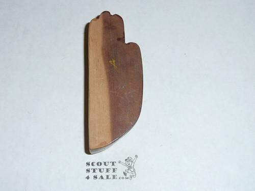 Carved Wood Scout Emblem Neckerchief Slide, no ring on back