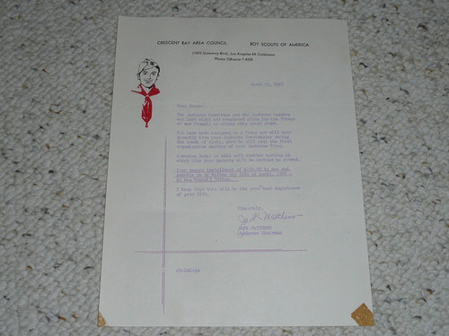 Crescent Bay Area Council, 1957 Letter on Council Stationary