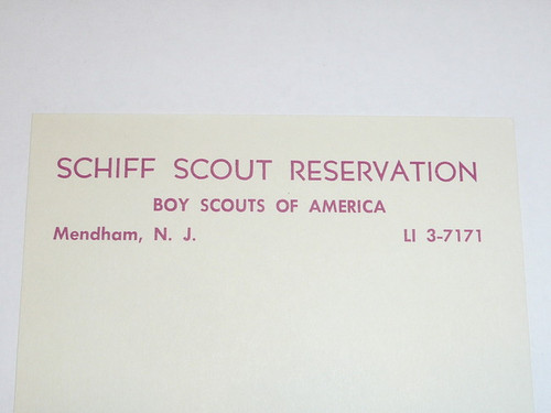 Schiff Scout Reservation, Piece of Note Paper