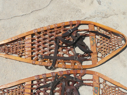 1950's Crescent Bay Area Council Snow Shoes, genuine antiques!,  Made of wood and strung with cat gut, branded with CBAC, used by troops in the council for many years (shipping to be paid by buyer after purchase so exact costs can be determined)