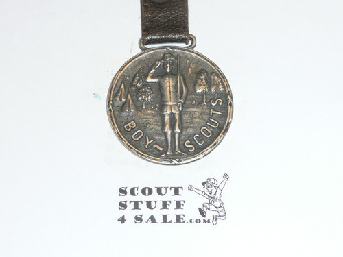 Silver Boy Scout Watch Fob, Satanding Saluting Scout
