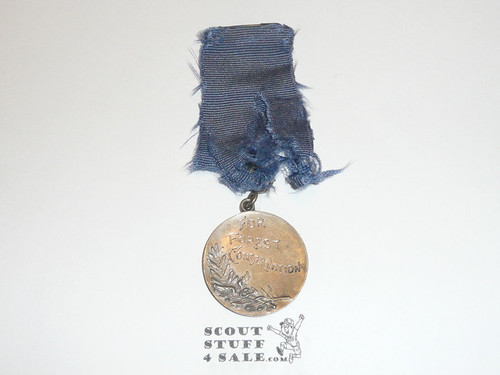 1925 Boy Scout Forest Conservation Medal, San Francisco, Sterling Silver, Ribbon well worn