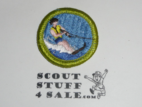 Water Skiing (no life jacket) - Type H - Fully Embroidered Plastic Back Merit Badge (1972-2002)