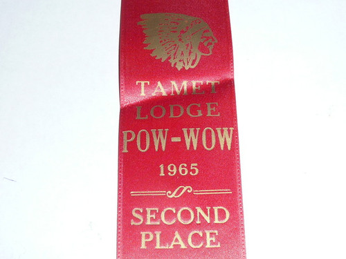 Order of the Arrow Lodge #225 Tamet 1965 Second Place Ribbon from Pow Wow