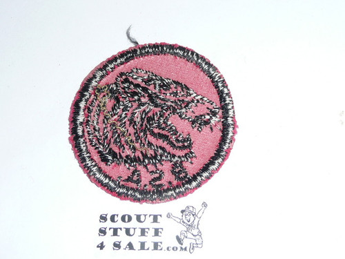 Tiger Patrol Medallion, Red Twill with red rubber backing, 1955-1971