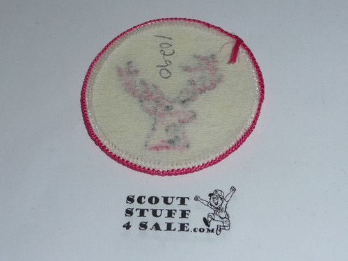 Stag Patrol Medallion, White Twill with paper back, 1972-1989
