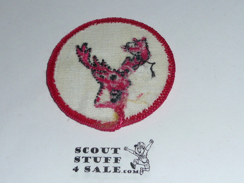 Stag Patrol Medallion, White Twill with gauze back, 1972-1989