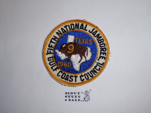 1960 National Jamboree Jamboree Council Patch - Gulf Coast Council, glue/paper on back