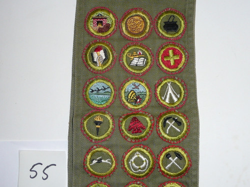 1950's Boy Scout Merit Badge Sash with 28 Khaki Crimped Merit badges, #55