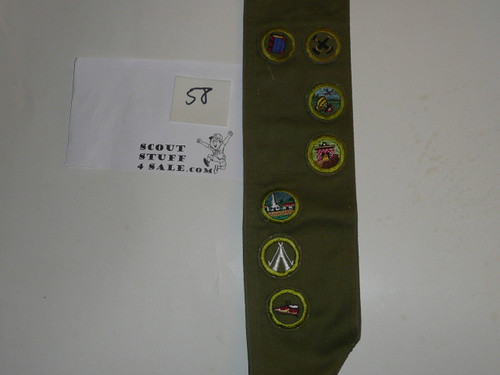 1950's Boy Scout Merit Badge Sash with 8 Khaki Crimped Merit badges, #58
