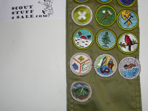 1970's Boy Scout Merit Badge Sash with 25 rolled edge Merit badges, #67