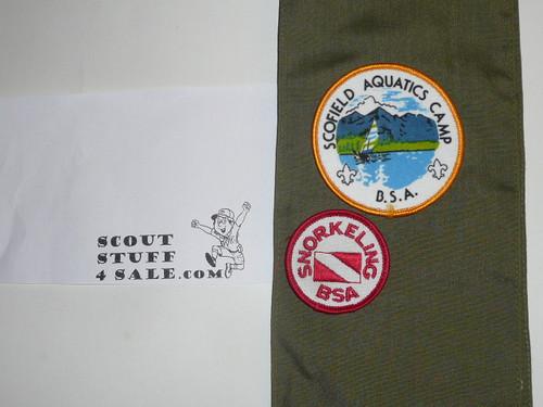1990's Boy Scout Merit Badge Sash with 22 rolled edge Merit badges, #73