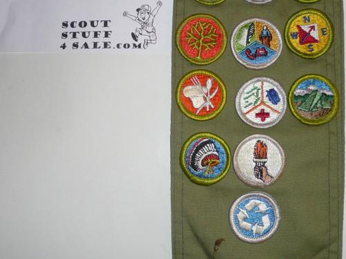 1970's Boy Scout Merit Badge Sash with 21 rolled edge Merit badges, #79