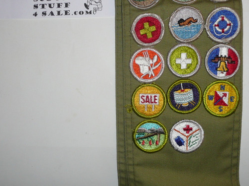 1970's Boy Scout Merit Badge Sash with 26 rolled edge Merit badges, #82