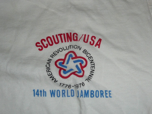 1975 World Jamboree USA Contingent Tee Shirt, Adult Medium, Lite use