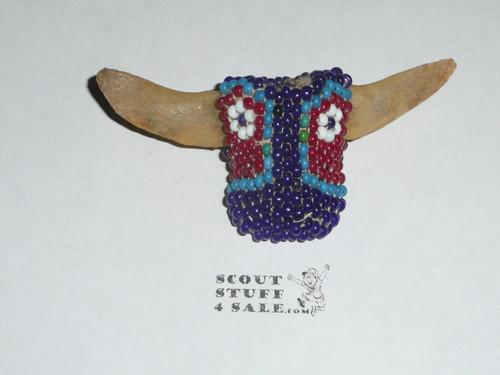Beaded Steer Neckerchief Slide with Bone Antlers #2