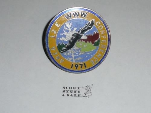 Area 12E 1971 Order of the Arrow Conference metal Neckerchief Slide