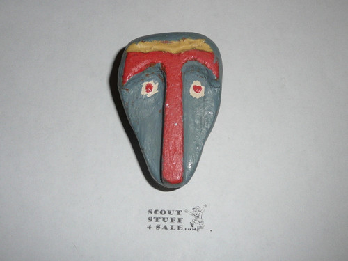 Carved Wood Neckerchief Slide w/Large T and face