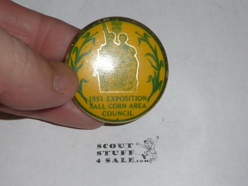 1951 Boy Scout Exposition Tall Corn Area Council Neckerchief Slide, celluloid button style