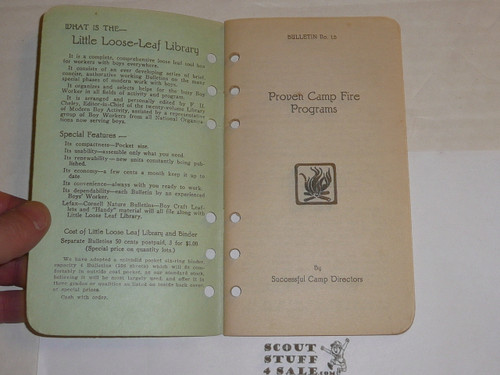 1926 Proven Campfire Programs, By Frank Cheley, Little Loose Leaf Series Bulletin #15